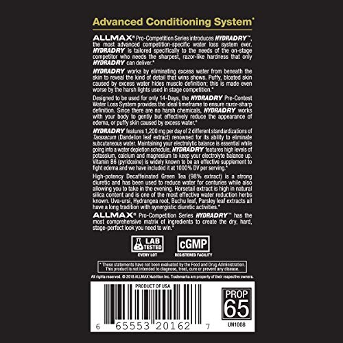 ALLMAX Nutrition HydraDry, 14-Day Pre-Contest Water Loss System, 84 Tablets by ALLMAX Nutrition (Image #4)