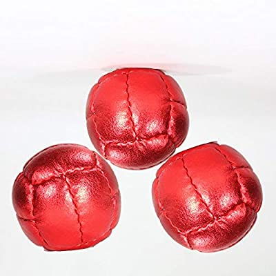 Zeekio Galaxy Juggling Ball Set - Metallic Series - 12 Panel Leather Balls, 130g, 62mm - (3) Juggling Balls (Metallic Red): Toys & Games