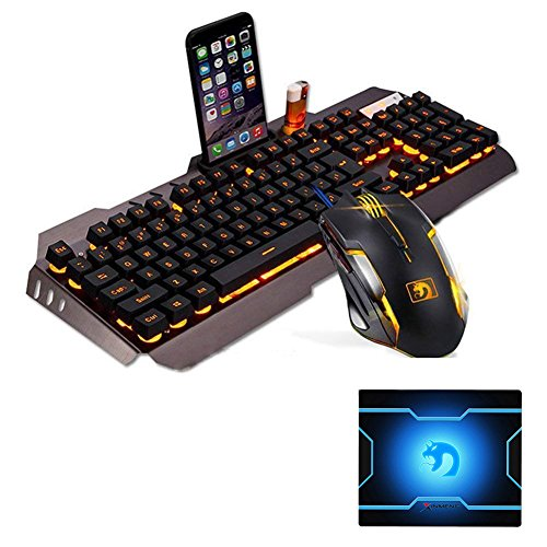 FELICON Gaming Keyboard Mouse Sets Rainbow LED Backlit Multimedia Ergonomic Wired USB Keyboard Phone Lighter Stand+2400DPI 6 Buttons Gaming Mouse Sets+Mouse Pad by FELiCON