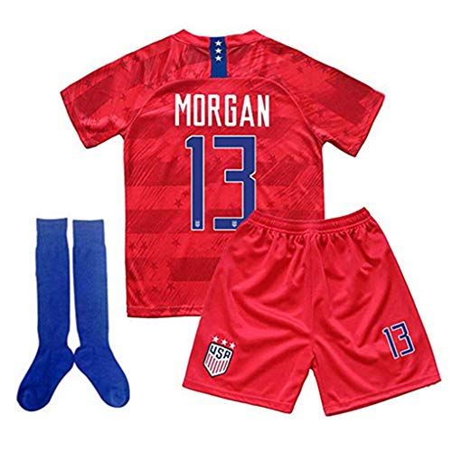 (New 2019-2020 Alex Morgan #13 USA National Away Kids/Youths Soccer Jersey Shorts & Socks for (9-10Y/Size24) Red)
