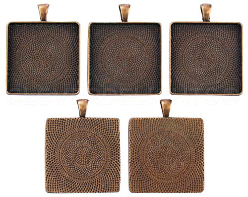 - 20 Square Pendant Trays - Antique Copper Color - 1 3/16 Inch - 30mm - Pendant Blanks Base Cameo Bezel Settings Photo Jewelry - Custom Jewelry Making - 1 3/16