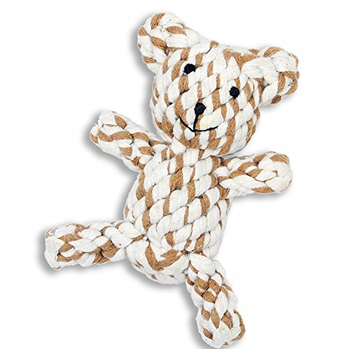 Petseeker Braided Bear Teeth Clean Pet Toys Puppy Cotton Rope Toys 5-Inch (Colors Vary)