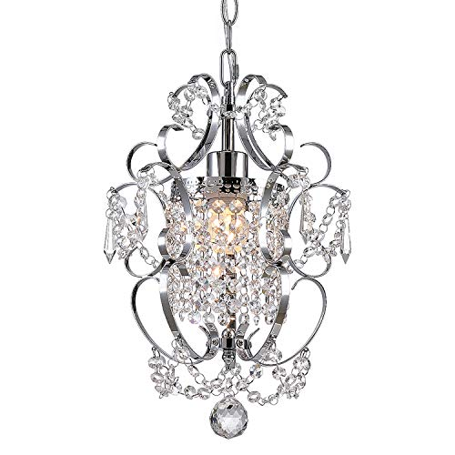 (Riomasee Mini Chandelier,Crystal Chandeliers Lighting,Modern Elegant Crystal Pendant Iron Ceiling Light Fixture for Bedroom,Bathroom,Girls Room,Living Room W11