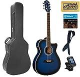 Oscar Schmidt Auditorium Cutaway Trans Blue Acoustic/Electric Guitar, Case Bundle OACEFTBL