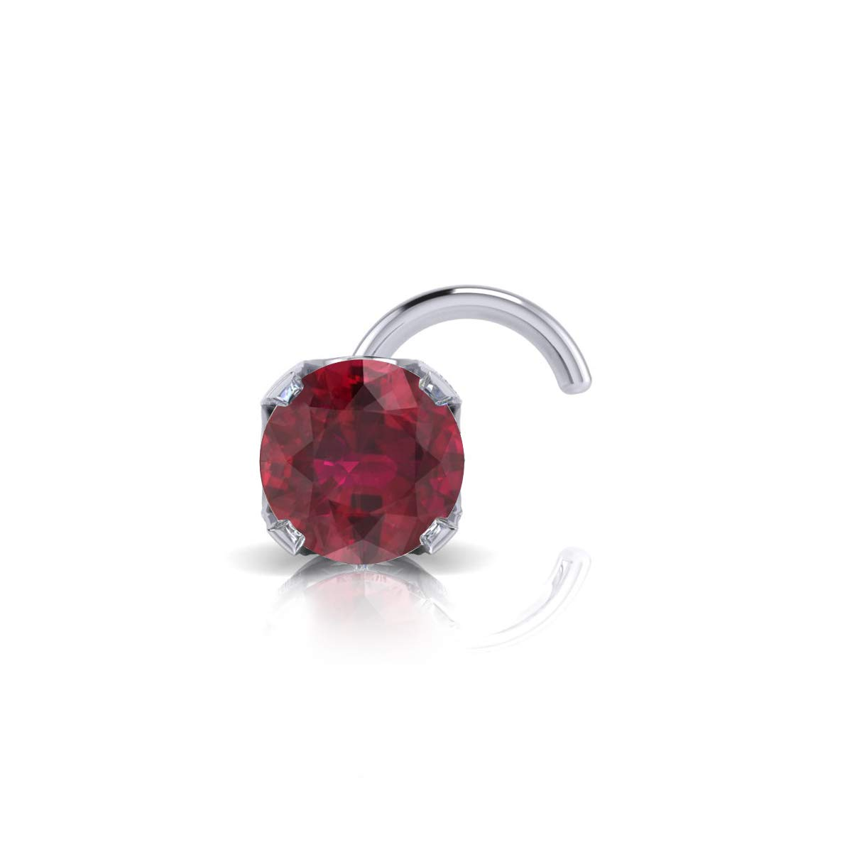 2mm 0.03 Carat Ruby Stud Nose Ring In 14K White Gold