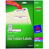 Avery® Orange File Folder Labels for Laser and Inkjet Printers with  TrueBlockTM Technology, 2/3 inches x 3-7/16 inches, Pack of 750 (5166)