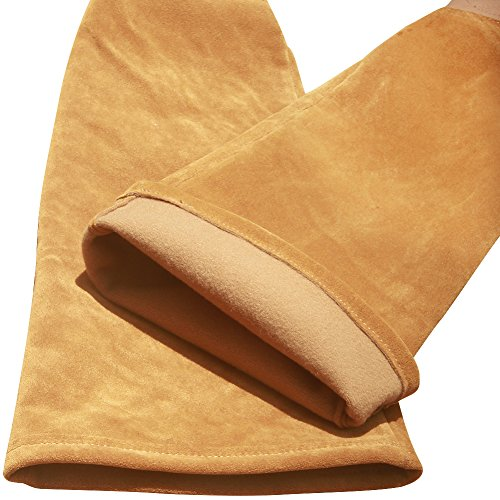 Leather Rose Pruning Gardening Gloves Puncture Resistant Work Gloves Rose Gloves Best for Gardener Orchardist Farmer Owner Men Women HCT05-US (M, Khaki) by Hense (Image #7)