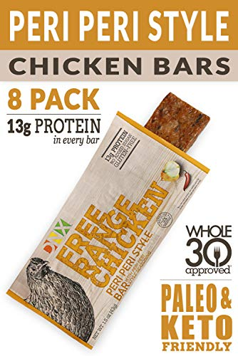 DNX Grass Fed Protein Bars | 8 - Pack Keto Friendly Meat Snack With a Truly Epic Taste | Whole30 Approved, Gluten Free, Organic Ingredients, No Preservatives (Chicken Peri Peri Style, 8 - Pack)
