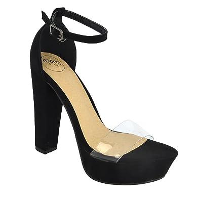 e6c536d54bb0 ESSEX GLAM Womens High Heel Platform Ankle Strap Perspex Toe Strap Sandals  Black Faux Suede Shoes