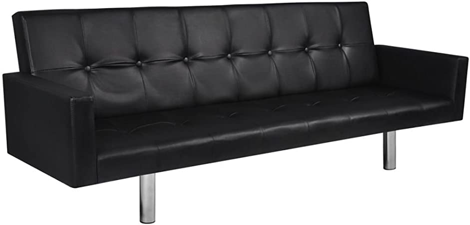 XINGLIEU Sofá Cama Negro,Sofa de Jardin Exterior,Sofa Reclinable,Cuero Artificial + Madera 184 x 77,5 x (60,5/64 / 66,5) cm: Amazon.es: Hogar