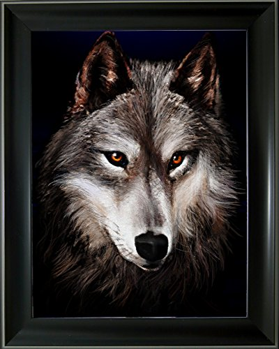 Wolf Photo Frame - Lee's Collection Grey Wolf Holographic 3D Animated Picture with Black Frame-15 Inches x 19 Inches