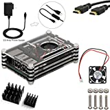 5 in 1 Kit for Raspberry Pi 3, Black Acrylic Sliced 9 layers Case Box + 2500mA Power Adapter Match ON/Off Cable + 200mA Cooling Fan + Two Aluminum Heatsinks + 5ft HDMI to HDMI Cable [Raspberry Pi 3 not include]