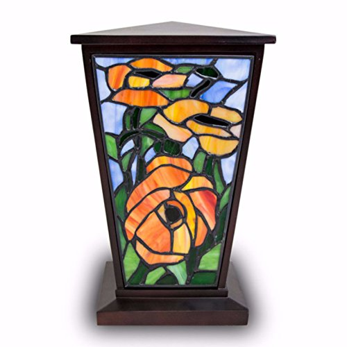 OneWorld Memorials Red-Orange Poppy Stained Glass Cremation Urn - Large - Holds Up to 200 Cubic Inches of Ashes - Orange Urns for Human Ashes - Custom Engraving Included