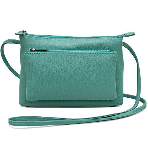 CTM Women's Leather Crossbody Handbag, Turquoise (Styled Large Handbag)