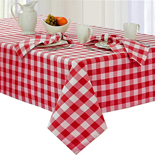 Newbridge Buffalo Check Indoor/Outdoor Cotton Tablecloth - Cottage Style Gingham Check Pattern Tablecloth 60 x 84 Oblong/Rectangular, Red