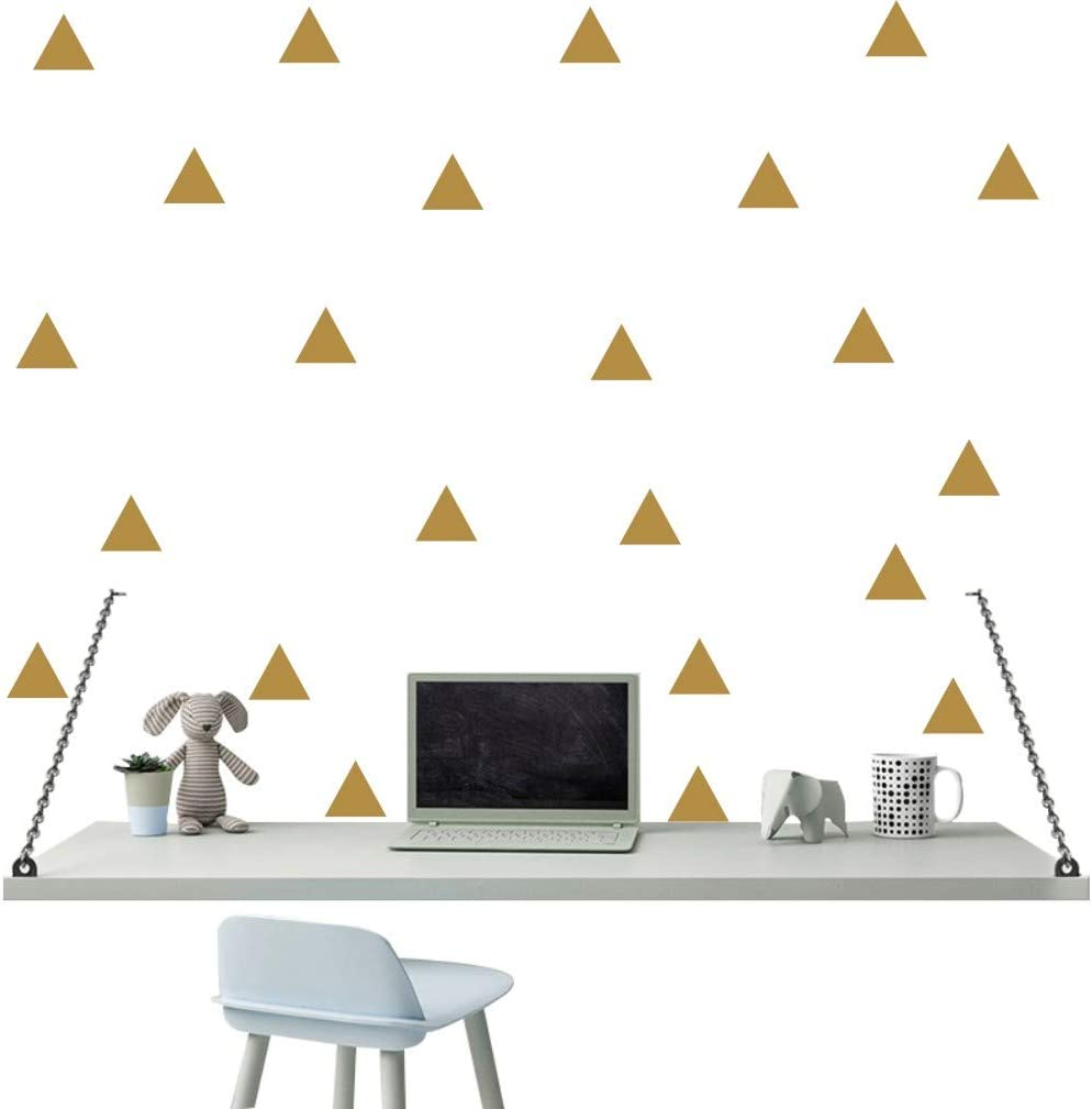 Wall Decor 64 Pieces Triangles Wall Sticker Vinyl Art Home Decoration Wall Deal Home Stickers for Kids Nursery Bedroom (Gold)