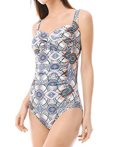 MISSWIM Women's Vintage One Piece Swimsuit Center Front-Twist Bathing Suit (White,M)