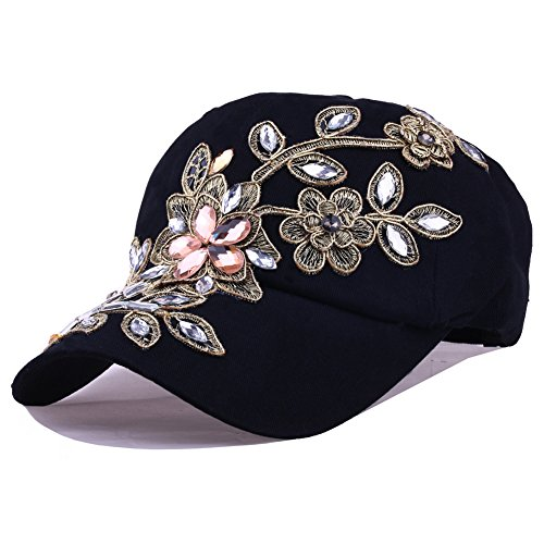 CRUOXIBB Black Womens Baseball Hat Lace Bling Flower Rhinestone Snapback Hip Hop Cap ()