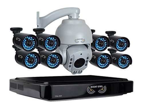 Night Owl 16-Channel, 9-Camera Indoor/Outdoor High-Definition DVR Surveillance System Black/Gray B-A720-162-8-1PTZ