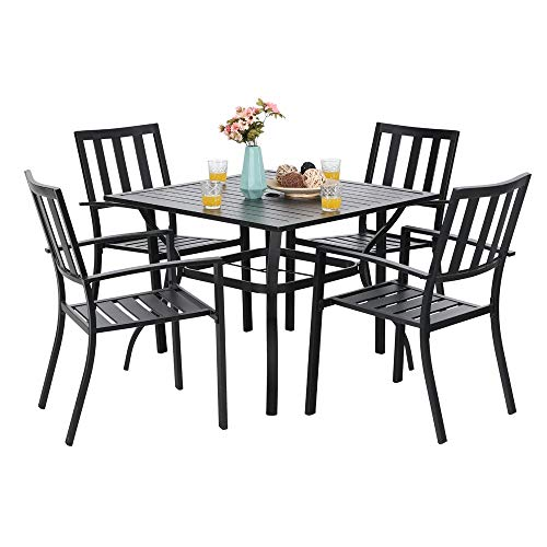37 Piece Set - PHI VILLA 5 Piece Metal Patio Dining Set 37