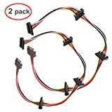 LINESO (2 Pack SATA 15 Pin Male to 4xSATA 15 Pin Female Power Splitter Cables L=19.5Inches (50CM)