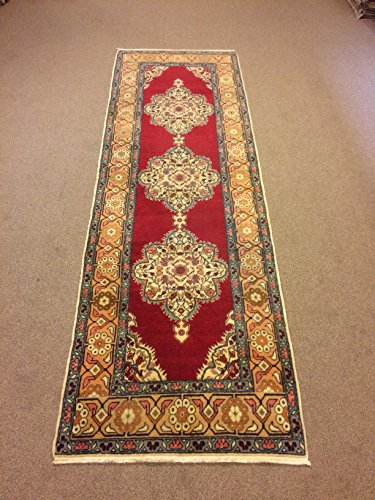 3x9.6 Feet Medallion Design Red Carpet Rug Runner Red Rug Handmade Carpet Runner Handmade Rug Carpet In Handmade Runner Code:K600