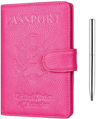 Toughergun Leather Passport Holder Wallet Cover Case RFID Blocking Travel Wallet (lychee rose red buckled with bonus pen)