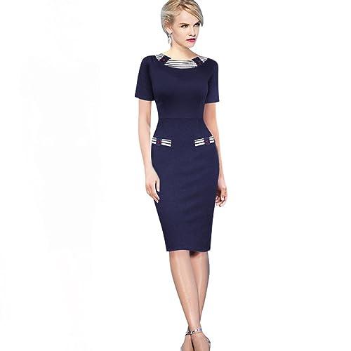 WintCO Ladies Dress Elegant Female Stripe Pencil Dress 4 Colors