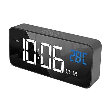 ChYoung Reloj Despertador Digital LED Carga USB Pantalla LED Reloj ...