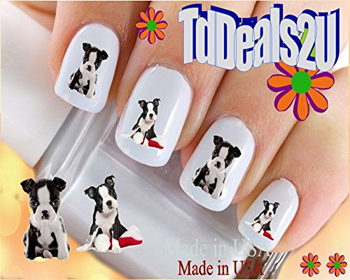 Nail Art Decals WaterSlide Nail Transfers Stickers Dog Breed - Boston Terrier Puppy I Love Nail Decals - Salon Quality! DIY Nail Accessories ()