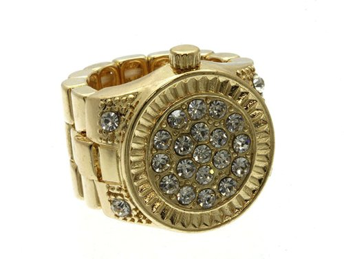 Goldtone Faux Watch-Style Stretch Band Rhinestone Textured Ring (Goldtone)