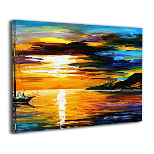 Little Monster Warm Sunset Inner Framed Printing On Canvas Wall Decor Abstract Paintings Art for Boys and Girls Bedroom -