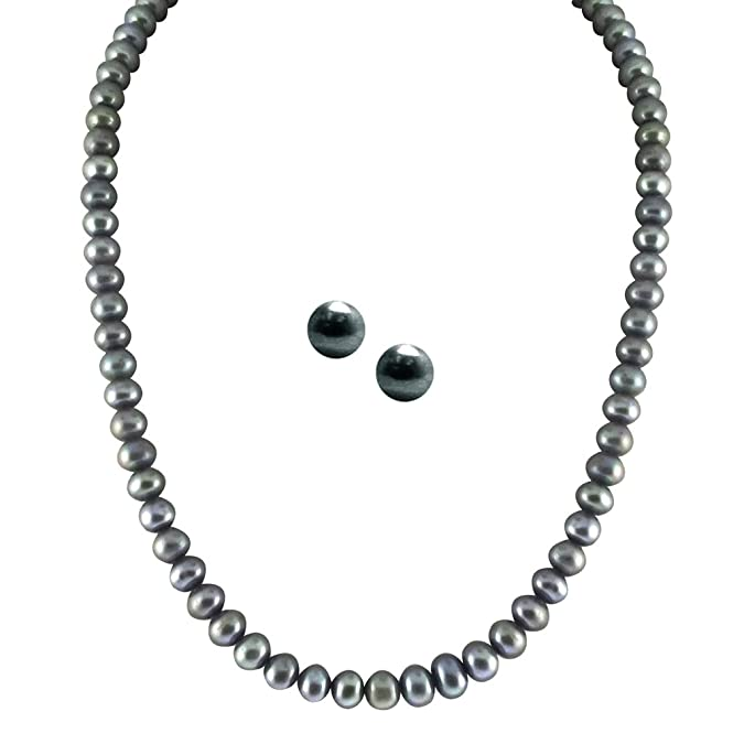 Sri Jagdamba Pearls Single Line Grey Pearl Set Girls' Chains & Necklaces at amazon