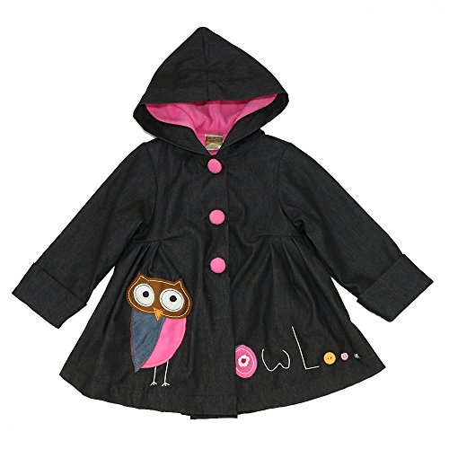 Maria Elena - Toddlers & Girls JAMIE'S OWL Patchwork Denim Swing Jacket Lined Super Soft & Warm Fleece Black Denim Over Candy Pink Size 7/8 -