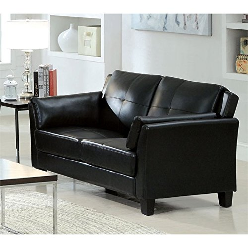 Furniture of America Tonia Leather Tufted Loveseat in Black