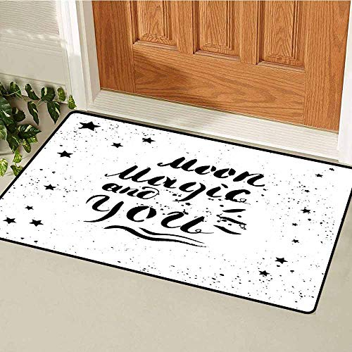 Gloria Johnson Romantic Commercial Grade Entrance mat Moon Magic and You Inspirational Messy Modern Brush Pen Calligraphy with Stars for entrances garages patios W29.5 x L39.4 Inch Black White ()