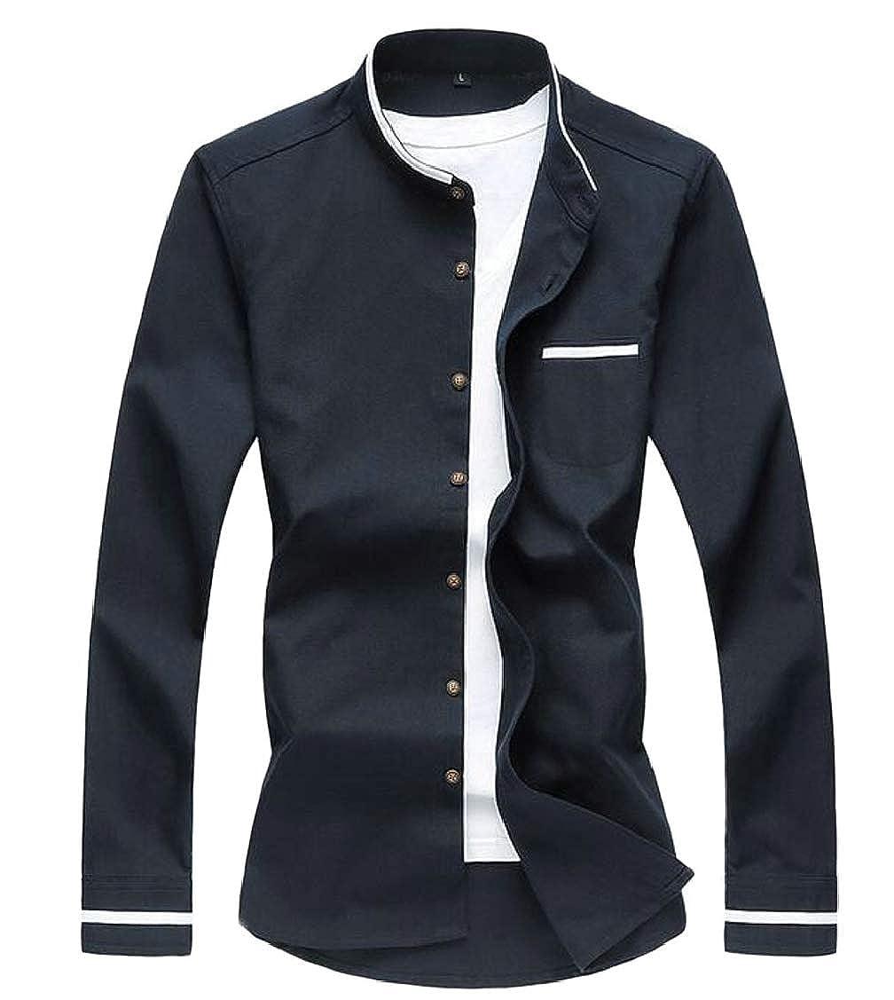 Fensajomon Mens Mandarin Collar Stylish Oxford Business Buttons Dress Shirts