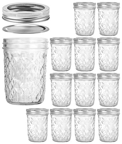 Wide Mouth Mason Jars 16 oz, VERONES 16 OZ Mason Jars Canning Jars Jelly Jars With Wide Mouth Lids, Ideal for Jam, Honey, Wedding Favors, Shower Favors, Baby Foods, 12 PACK ()