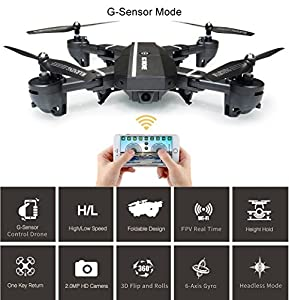 Foldable RC Camera Drone 8807W Wifi FPV 2.4G Altitude Hold Headless Quadcopter with 720P 2MP Wide Angle Camera by Fancywing by Fancywing