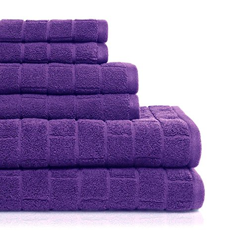 (ADI American Dawn Cobblestone Tiles 6 Piece Textured Bath Towel Set, Purple)