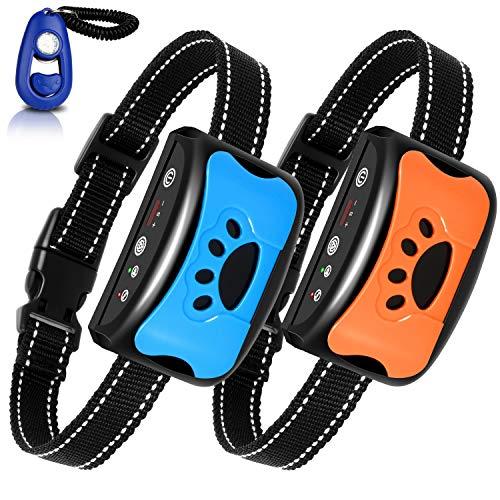 BATVOX Bark Collar 2 Pack Rechargeable No Harm Dog Barking Collar with Vibration, Sound and No Shock for Small Medium…