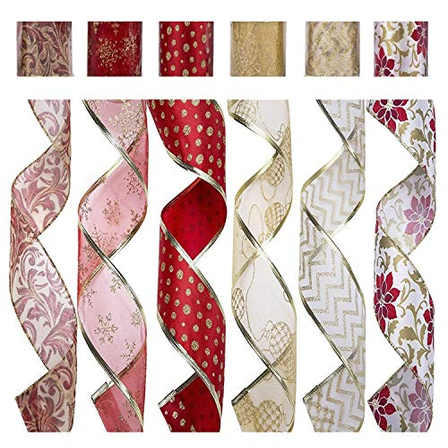 d Ribbon, Assorted Fabric Crafts Gift Wrapping Ribbons Organza Swirl Sheer DIY Floral Poinsettia Christmas Design Decorations, 36 Yards (2.5