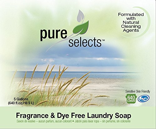 Amazon.com: Pure Selects Fragrance & Dye Free Laundry Soap • All Natural • HE • 640 Loads • Sensitive Skin Friendly • 5 Gallons •NO ANIMAL TESTING • PUMP ...