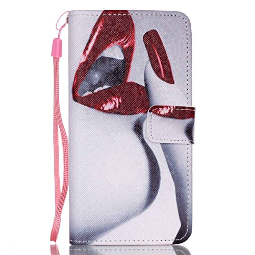 G530 funda , Samsung Galaxy Grand Prime G530H/DS funda , Lifetrut® [ Labios rojos Nails ] Magnético Snap Case premium tirón caja de la carpeta de la cubierta [Ranura para tarjeta de dinero] funda para
