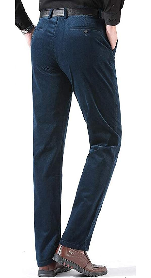 Britainlotus Mens Classic Slim Fit High Waist Straight Canyon Cord Pant Classic Fit Pant