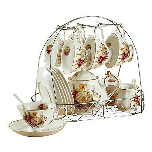 ufengke 15 Piece European Ceramic Tea Sets, Bone China Coffee Set Metal Holder, White Red Rose Flower Painting ()