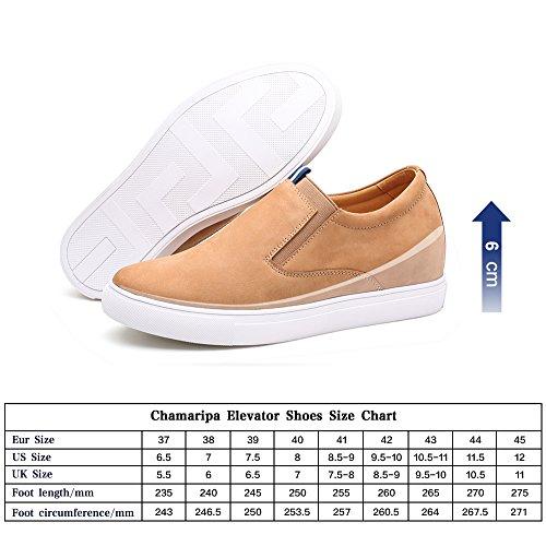CHAMARIPA Beiläufige Männer-Aufzugs-Schuhe weiche lederne Ferse-Aufzug-Schuhe Beleg-Auf - Schwarz und Weiß - 6 cm erhöhen - H72C55K112D (37, brown)