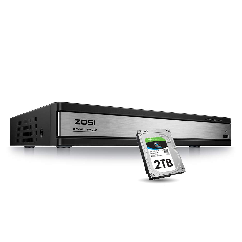 ZOSI 16CH 1080P DVR Video Surveillance Recorder with 2TB Hard Drive - 4-in-1 Supports HD-TVI, CVI CVBS AHD 960H Security Cameras, Remote Viewing, Motion Detection by ZOSI