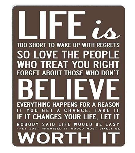 Wknoon Gaming Mouse Pad Custom Design Mat, Live Life Inspirational Quotes Motivational Sayings