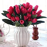 XHOPOS HOME Artificial Flowers Living Room Bedroom Modern Red Tulips White Ceramic Vase Decorative Fake Flowers For Home Party and Garden Decor